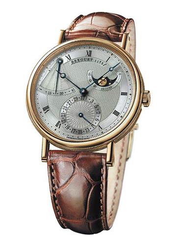 Швейцарские часы Бреге на кожаном ремне.